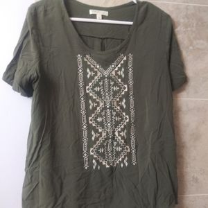 LOVE, FIRE Olive Green Aztec Tribal Embroidered Sh